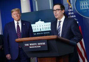 Steve Mnuchin and President Trump