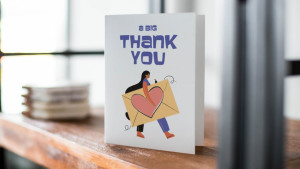 thank you card with cute illustration