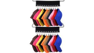 baseball hat organizer that can attach to a closet hanger