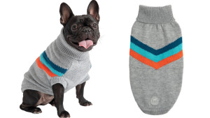 gray sweater with chevron colored design for dogs