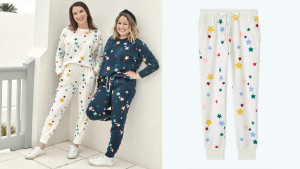 white french terry joggers with tiny rainbow stars