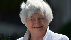 US Treasury Secretary, Janet Yellen smiles during a press conference after attending the G7 Finance Ministers meeting at Winfield House on June 5, 2021 in London, England.