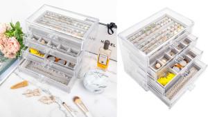 acrylic jewelry box with inner velvet trays