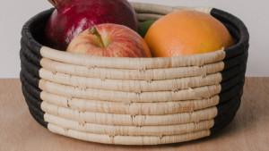 hand-woven raffia basket