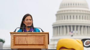 Secretary of the Interior Deb Haaland delivers remarks at an event in Washington, DC.