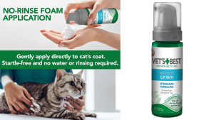 dry shampoo for cats, no water bath for cats who hate water