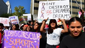 Students and supporters of DACA rally in downtown Los Angeles
