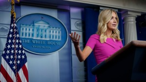 Press Secretary Kayleigh McEnany speaks during a press briefing at the White House.