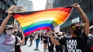 Pride flag being waved