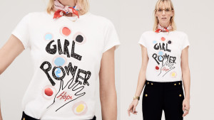 colorful girl power typography white short-sleeved t-shirt