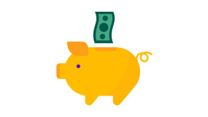 Dollar going into piggy bank