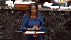Del. Stacey Plaskett (D-Virgin Islands) speaks on the second day of former President Donald Trump's second impeachment trial at the U.S. Capitol on February 10, 2021 in Washington, DC.