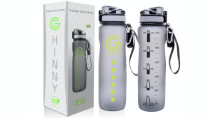 water bottle with time markers to help you track the amount of water you drink in a day