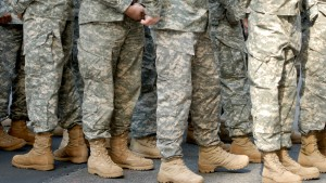 US Army soldiers in desert camouflage uniforms
