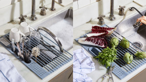 collapsible over the sink drying rack for dinnerware