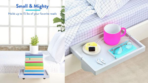 floating bedside shelf that can attach to a bed frame