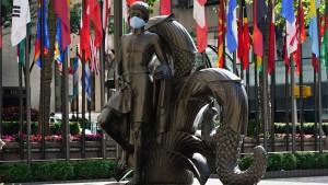 Paul Manship's 'Youth' statue in Rockefeller Center wears a mask to coincide with New York City moving into the phase two re-opening from the coronavirus pandemic.