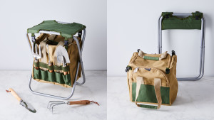 gardening stool with storage bag and five gardening tools