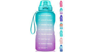 one gallon water bottle with time markers to keep you on track during the way