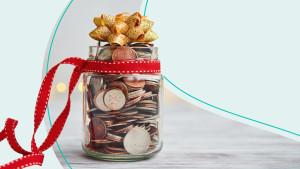 holiday budget coin jar