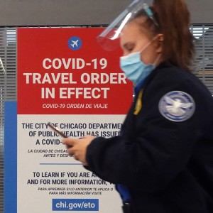 A travel warning is posted at O'Hare International Airport in Chicago, Illinois.