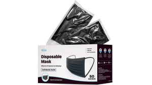 disposable black face masks with three layers of protection