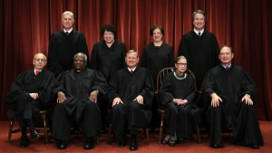Justices pose for their official portrait at the in the East Conference Room at the Supreme Court building November 30, 2018