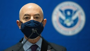 .S. Secretary of Homeland Security Alejandro Mayorkas delivers remarks while visiting a FEMA community vaccination center on March 2, 2021 in Philadelphia.