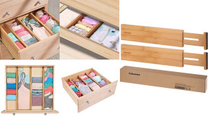 expandable drawer dividers to allow for division and neat piles within drawers