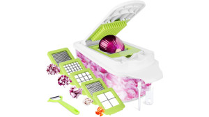 veggie chopper with different size blades so you can easily chop ingredients in bulk