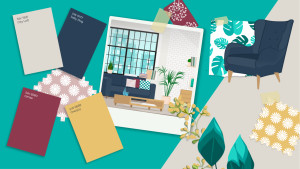 Sherwin Williams Paint Personality Article inspiration board with colors and home decor