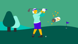 woman golfer smashing her piggy bank on the golf course