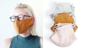 linen face mask with two layers and elastic ear loops