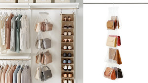 hanging purse organizer with eight clear slots