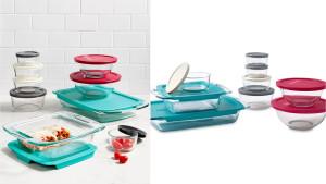 pyrex glass baking dish set and food storage set