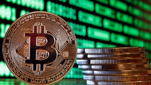In this photo illustration, a visual representation of the digital Cryptocurrency, Bitcoin is displayed on January 15, 2018 in Paris, France.