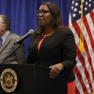 New York State Attorney General Letitia James speaks during a press conference