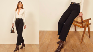 black wide-legged jeans