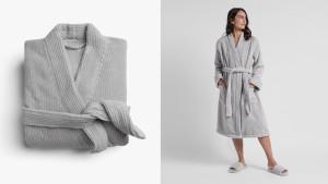 Turkish cotton robe in gray