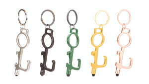 no touch tool keychain that'll open doors, is a stylus, and bottle opener