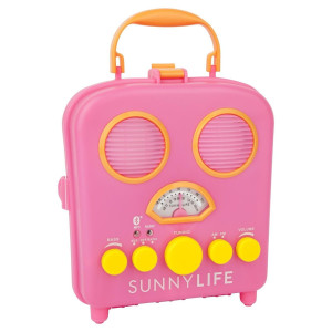 portable beach speaker in hot pink
