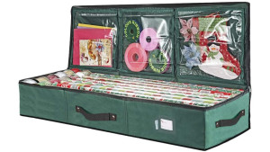 gift wrap storage with pockets for ribbons, tissue paper, tape, and holiday bags