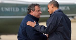 NJ Governor Chris Christie (R) and President Obama