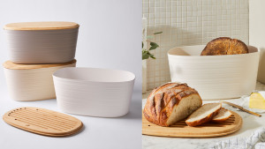 bread box with a bamboo lid