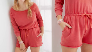 fleece romper with long sleeves