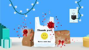 presenting a present - plastic bag