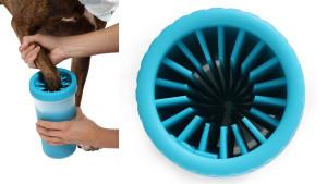 Blue paw washer with dog paw inside