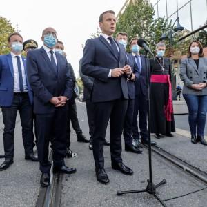 Emmanuel Macron outside the the Notre-Dame de l'Assomption Basilica in Nice