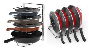 metal chrome pan stacker