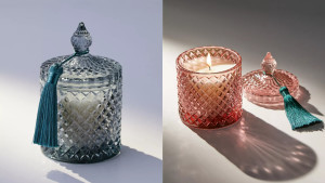 candle in glass jar with lid and tassel